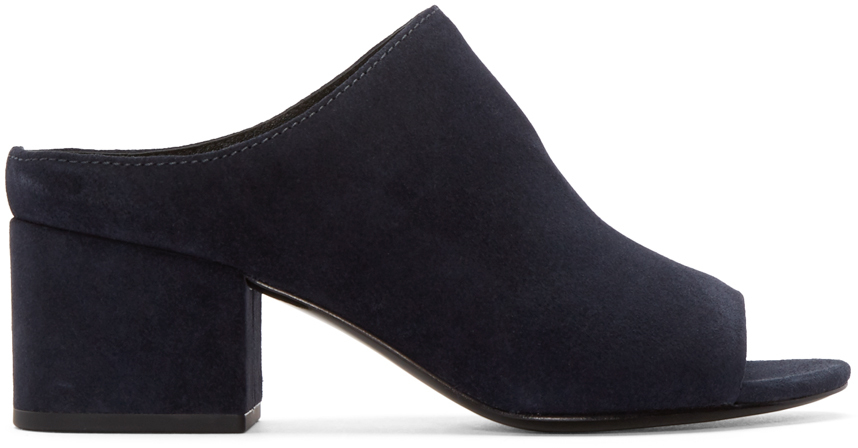 Lyst 3 1 Phillip Lim Navy Suede Cube Mules In Blue