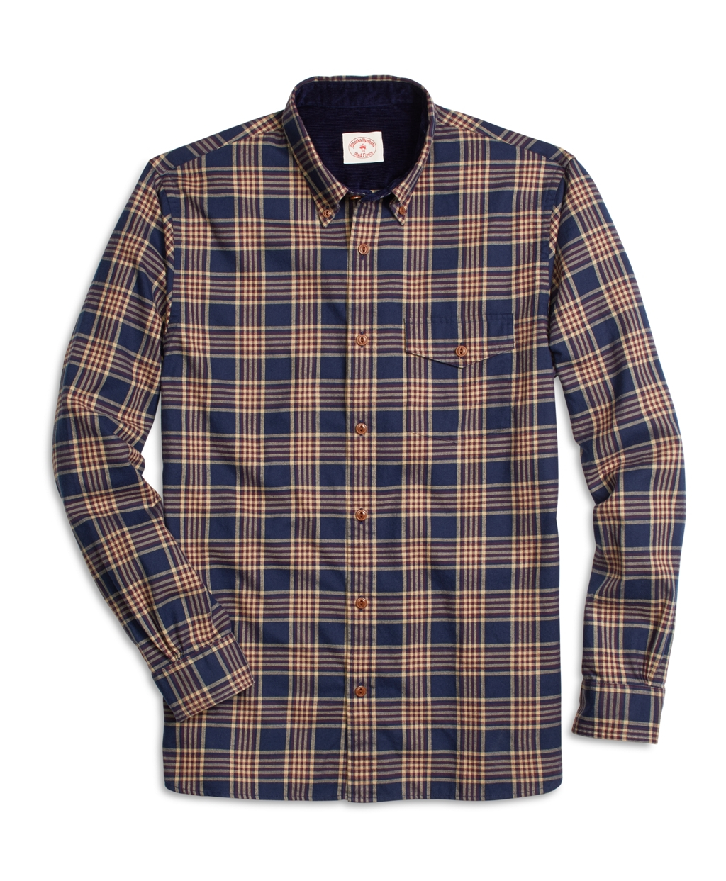 Brooks brothers navy plaid flannel sport shirt in blue for for Navy blue plaid shirt
