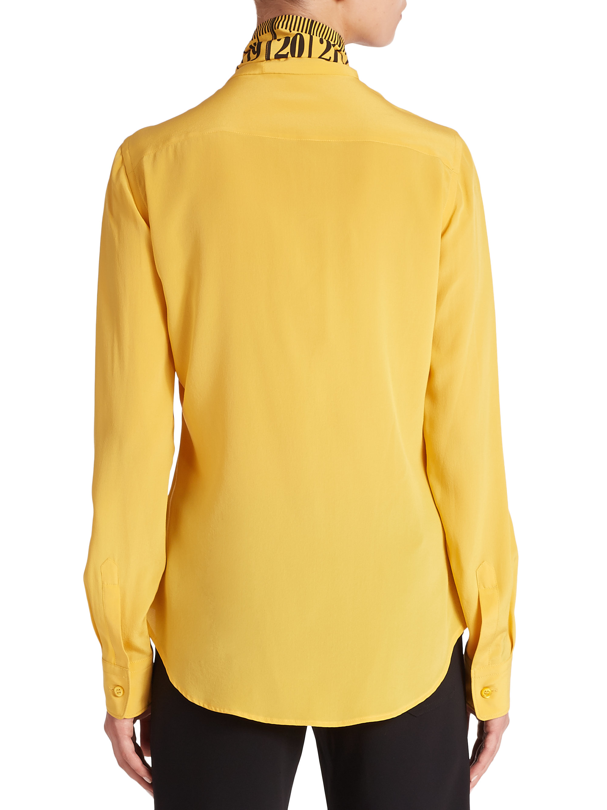 Lyst Moschino Measuring Tape Silk Blouse in Yellow