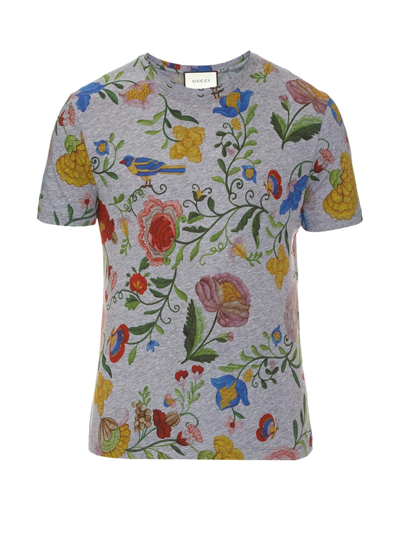 Gucci Floral print Cotton T shirt for Men Lyst