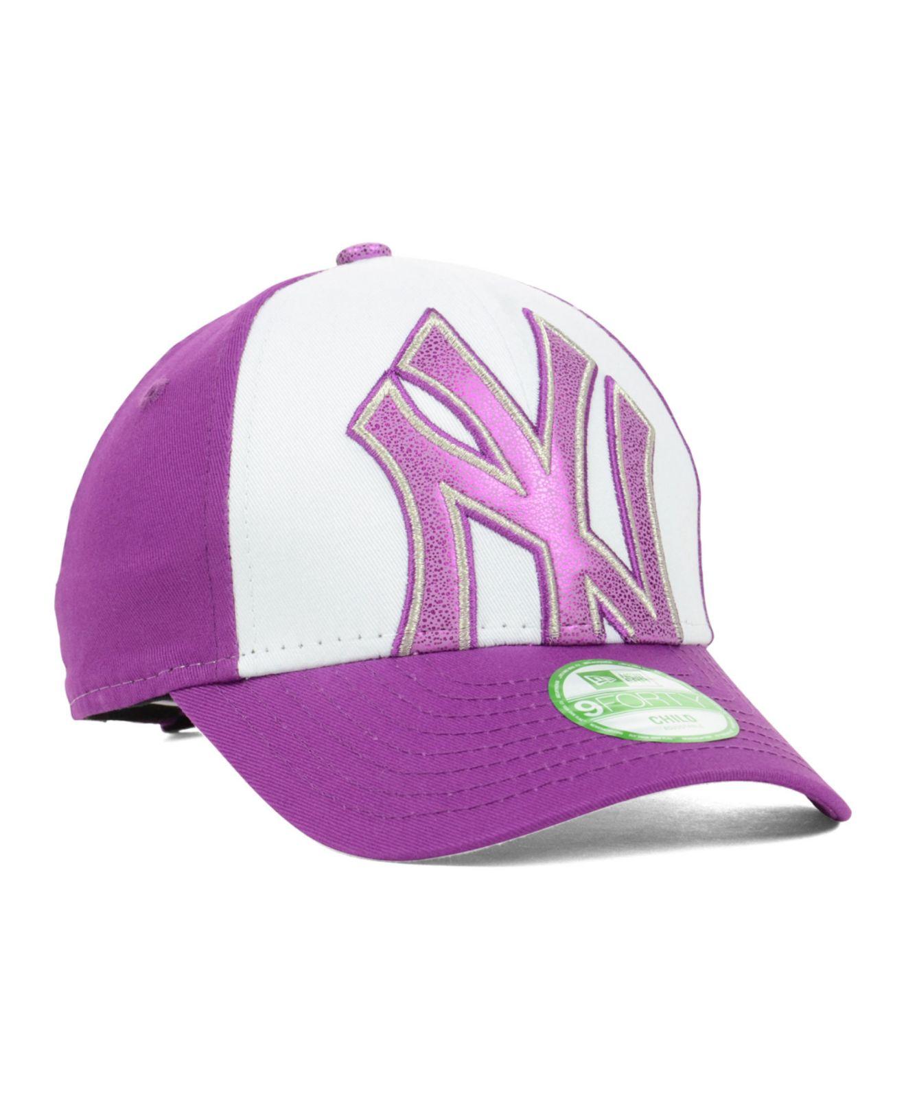 9b476661b8f ... purchase lyst ktz new york yankees glitter filler 9forty cap in purple  40c1b 02ae6