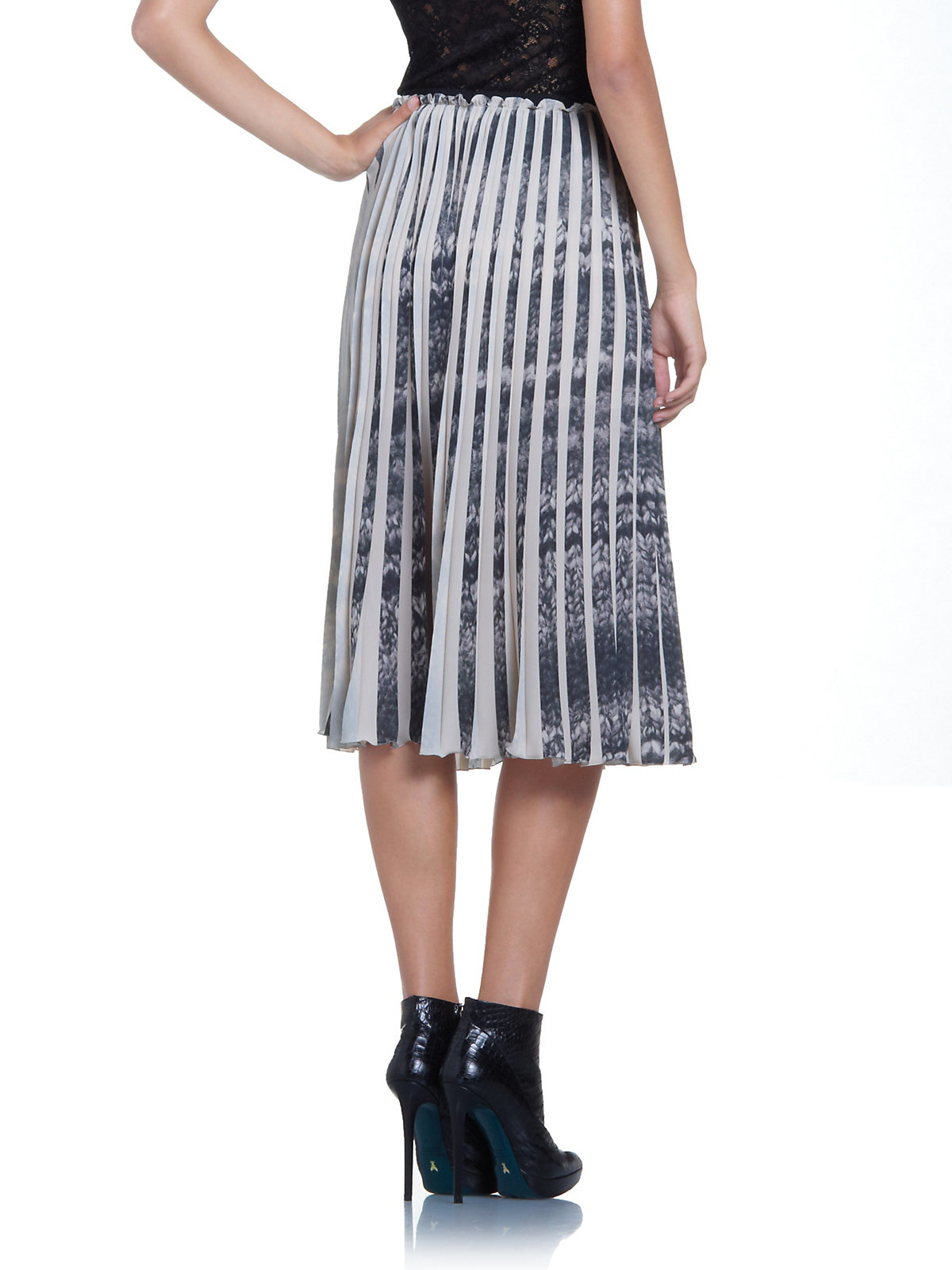 patrizia pepe pleated maxi skirt in soft printed fabric in
