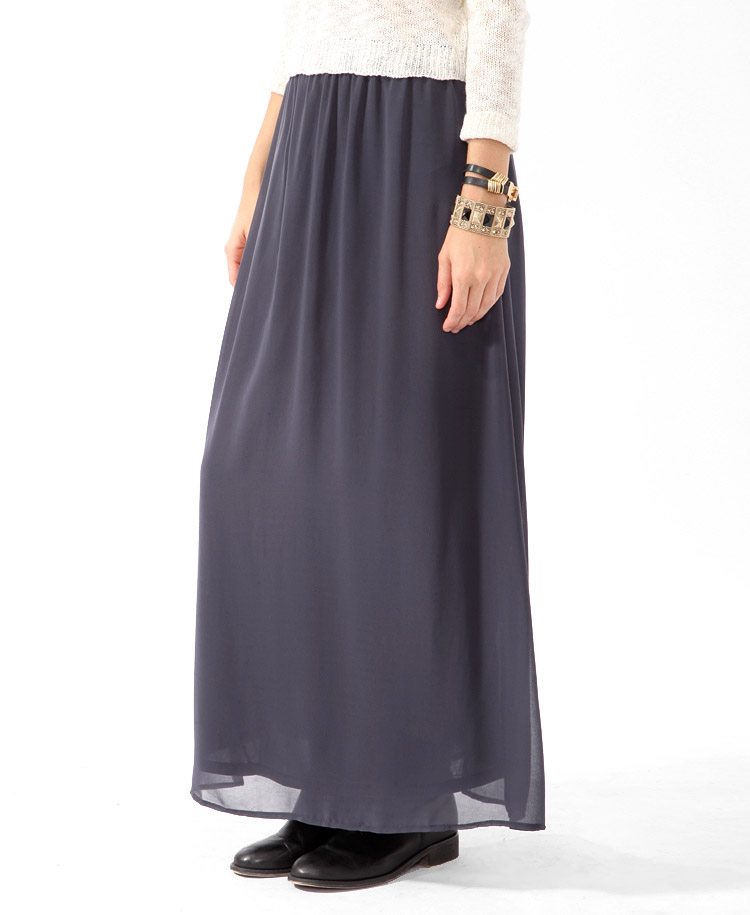 Forever 21 Chiffon Maxi Skirt in Gray | Lyst