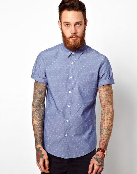 Asos Chambray Dobby Shirt In Short Sleeve In Blue For Men