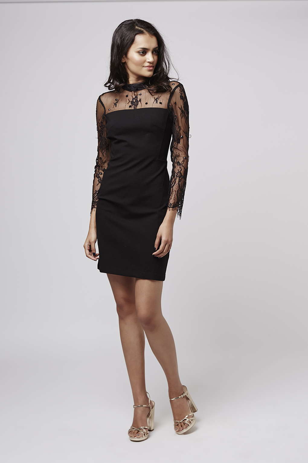 Bead and lace bodycon dress