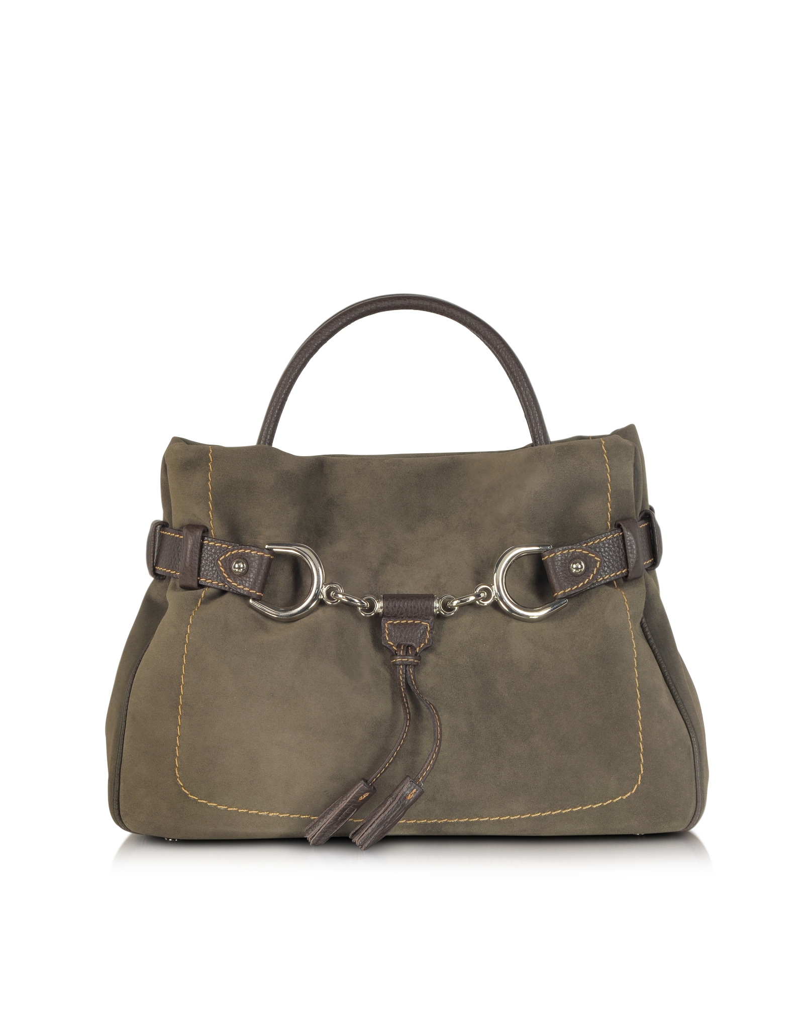 Buti brown taupe suede and leather satchel bag in brown lyst Sdb chocolat taupe