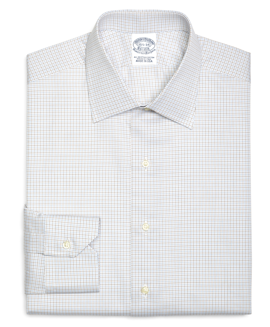 Brooks brothers regular fit small tattersall dress shirt for Small collar dress shirt