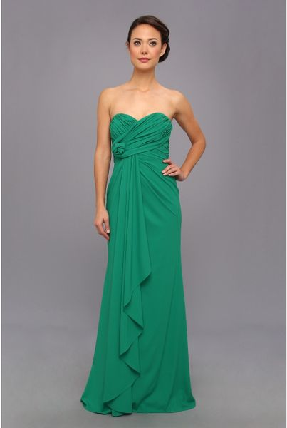 Badgley mischka strapless gown in green emerald lyst for Badgley mischka store nyc