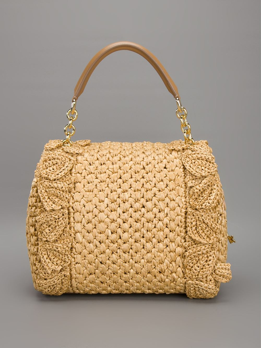 Lyst Dolce Amp Gabbana Sicily Raffia Handbag In Natural