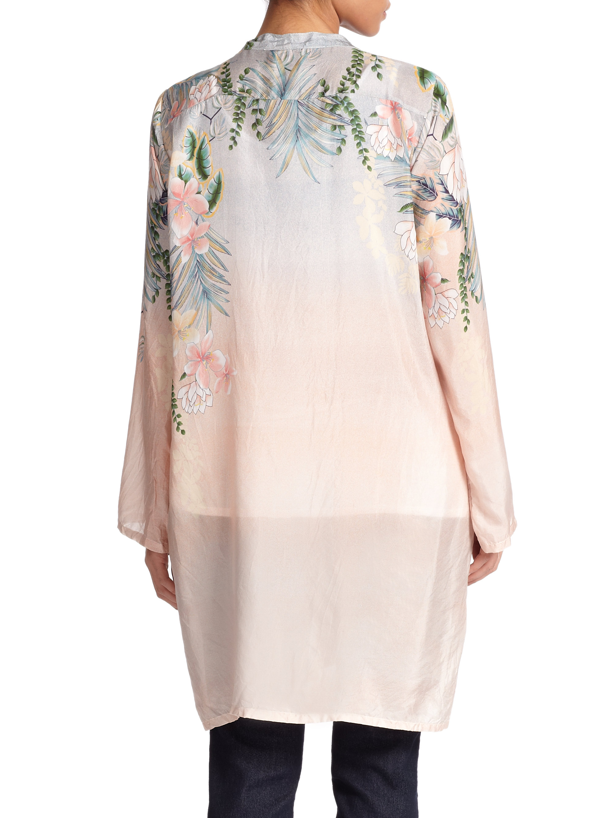 Lyst Johnny Was Silk Floral Long Tunic In Pink