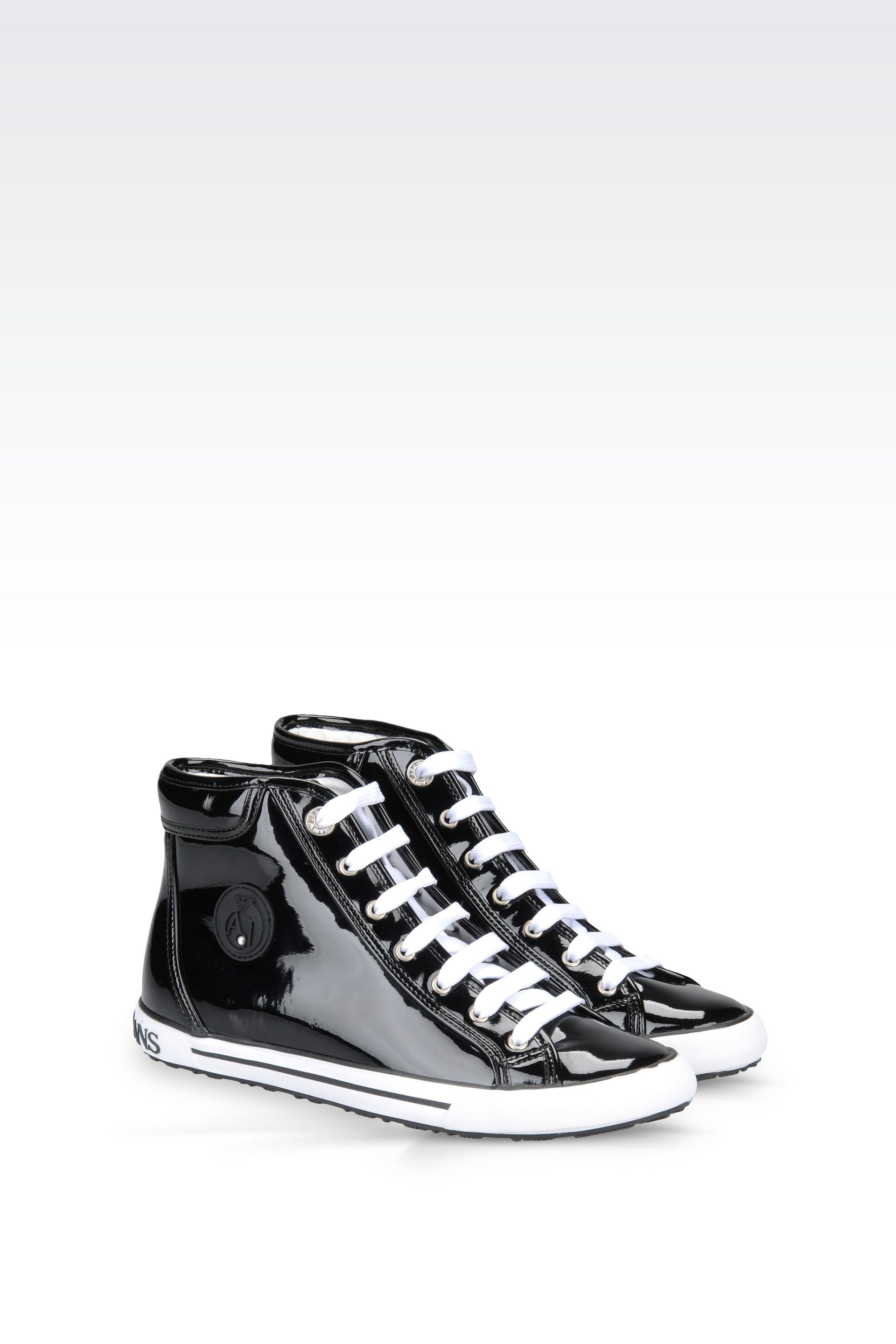 armani jeans high top sneaker in patent in black lyst. Black Bedroom Furniture Sets. Home Design Ideas