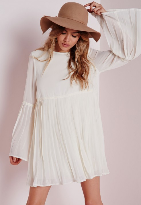 Missguided Long Sleeve Pleated Swing Dress White in Natural | Lyst