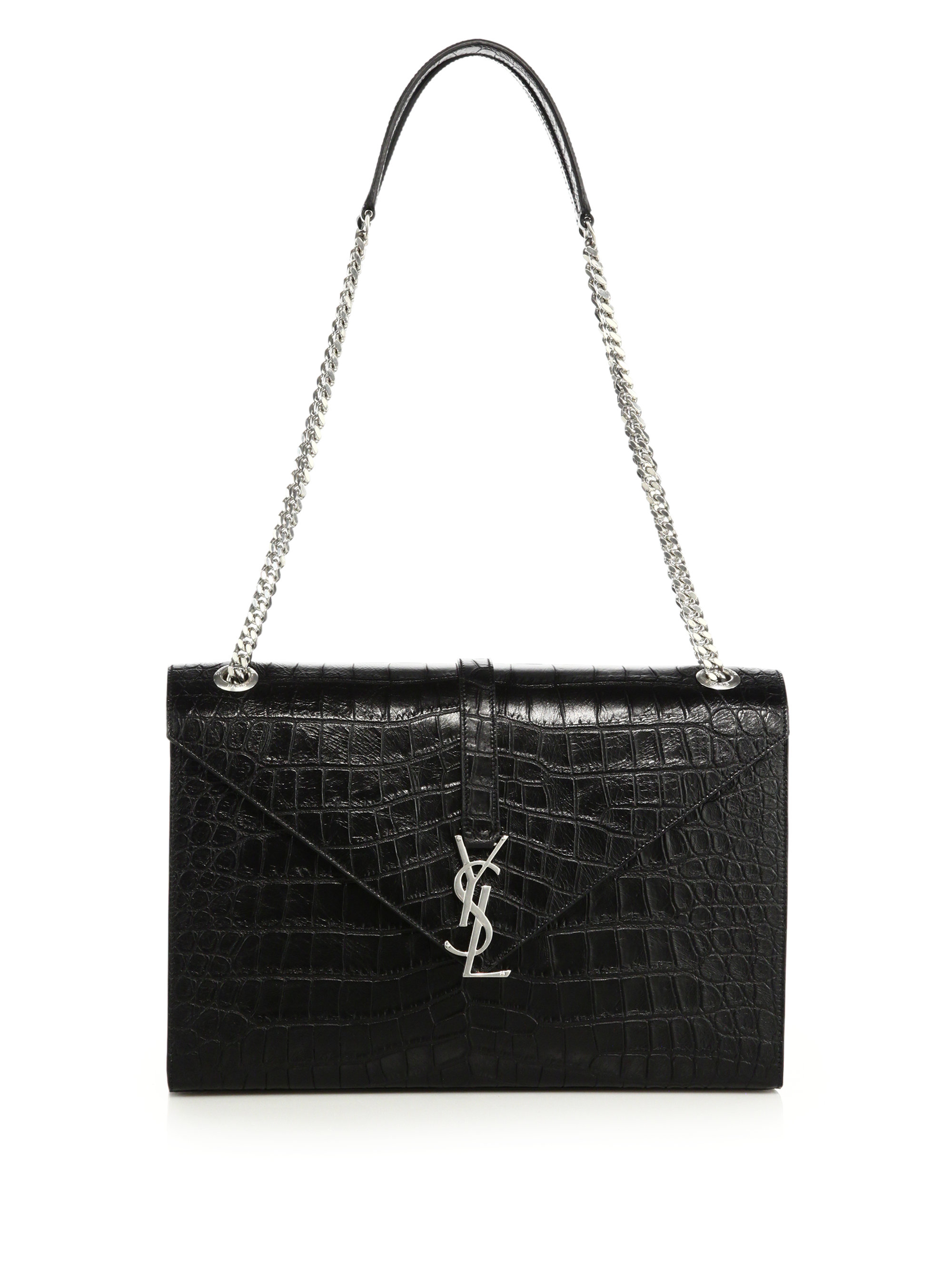 Monogram Medium Croc Embossed Shoulder Bag Silver Shop