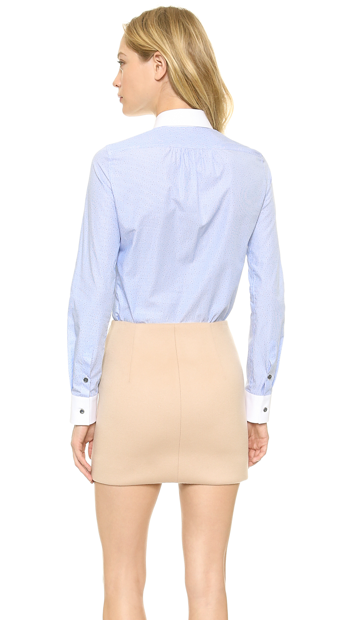 Dsquared long sleeve shirt white light blue in blue lyst for Blue and white long sleeve shirt