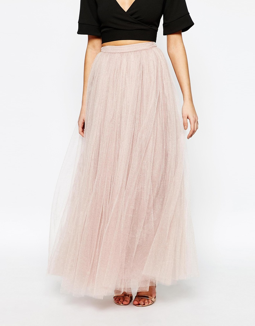 maxi tulle skirt in pink mink lyst