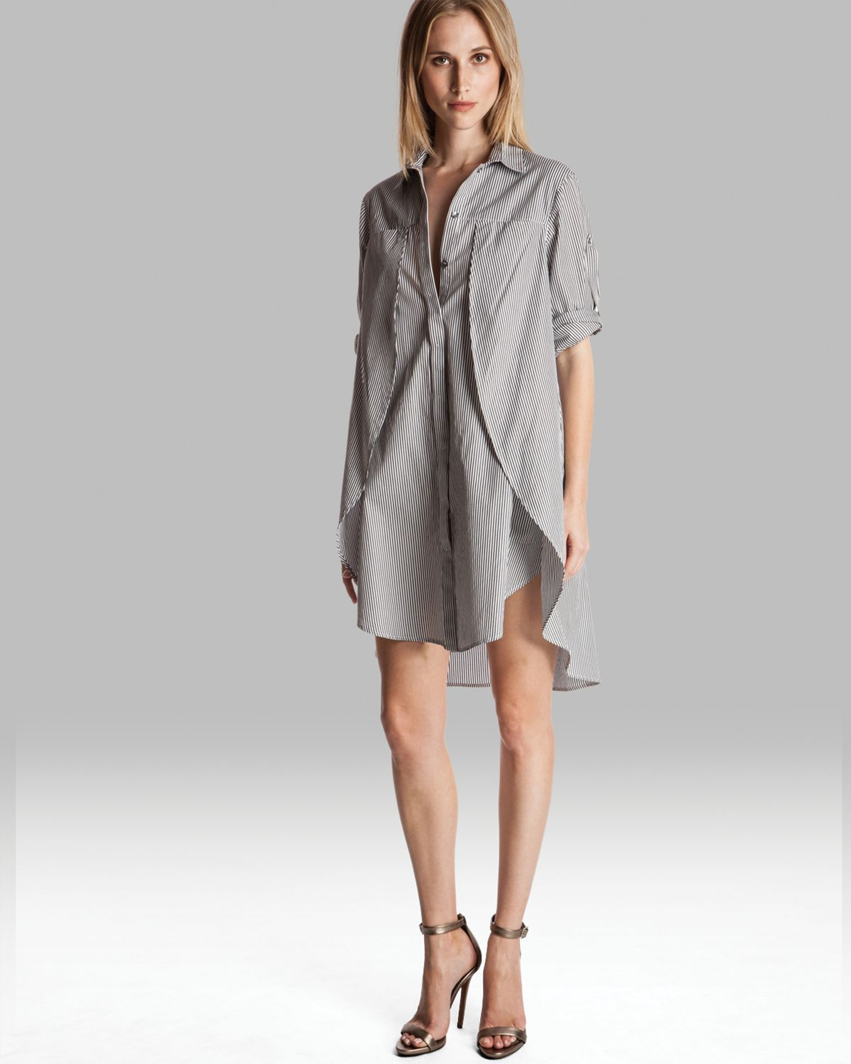 Halston heritage shirt dress belted with overlay detail in for Halston heritage shirt dress