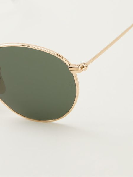 Ray-ban Round Frame Sunglasses in Gold (metallic) Lyst