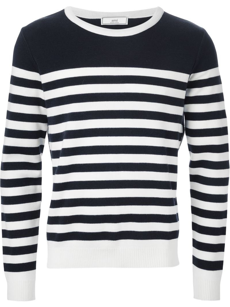 Lyst Ami Striped Sweater In Black For Men