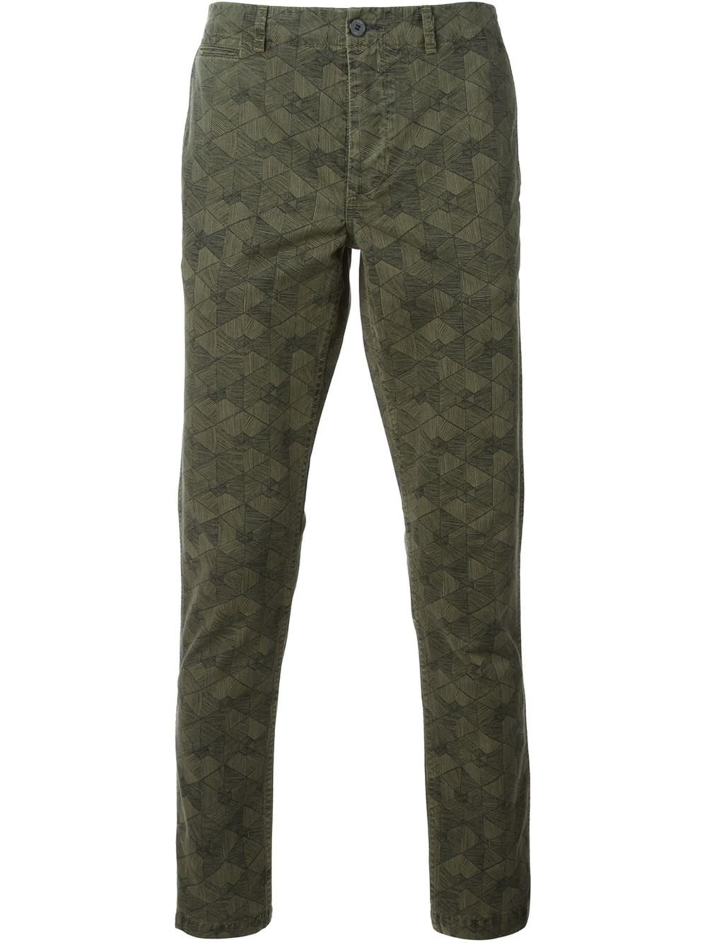 Paul Smith Geometric Print Chino Trousers in Green for Men