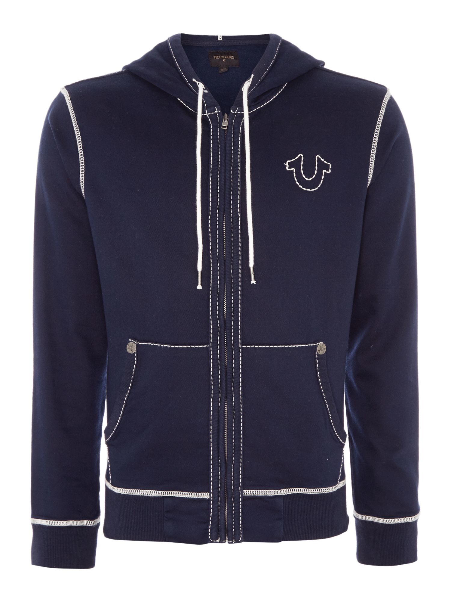 true religion contrast stitch full zip logo hoodie in blue for men lyst. Black Bedroom Furniture Sets. Home Design Ideas