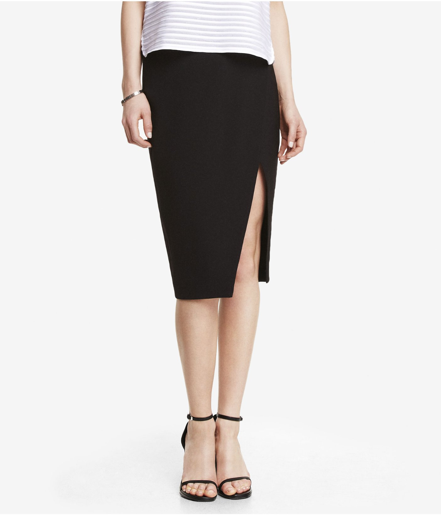 express high waist midi wrap effect skirt in black pitch