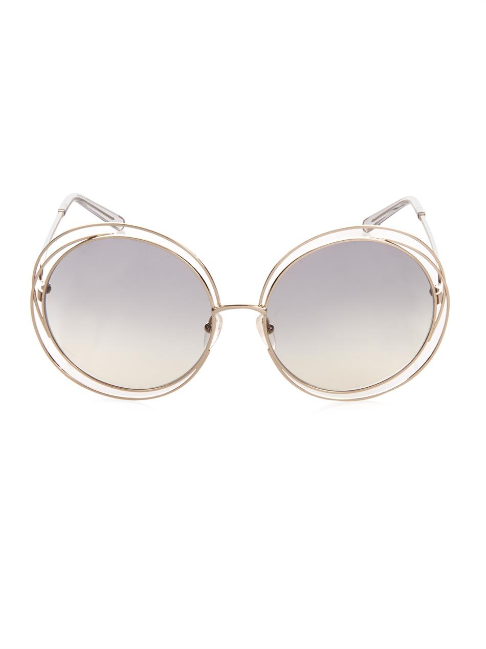 Chloé Carlina Round-Framed Sunglasses in Grey (Grey)