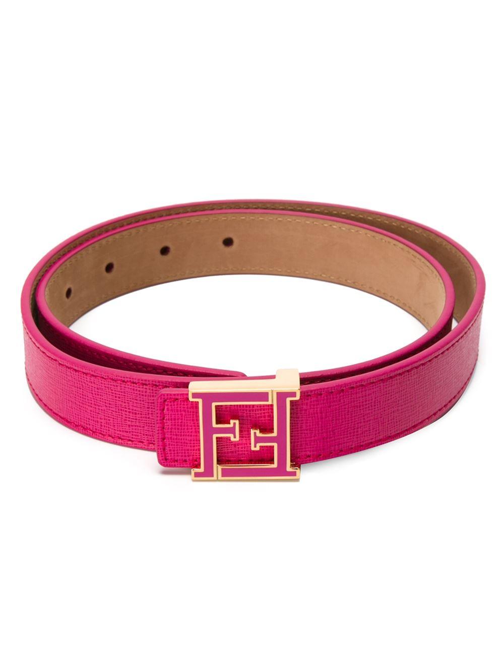 fendi ff logo buckle belt in pink lyst