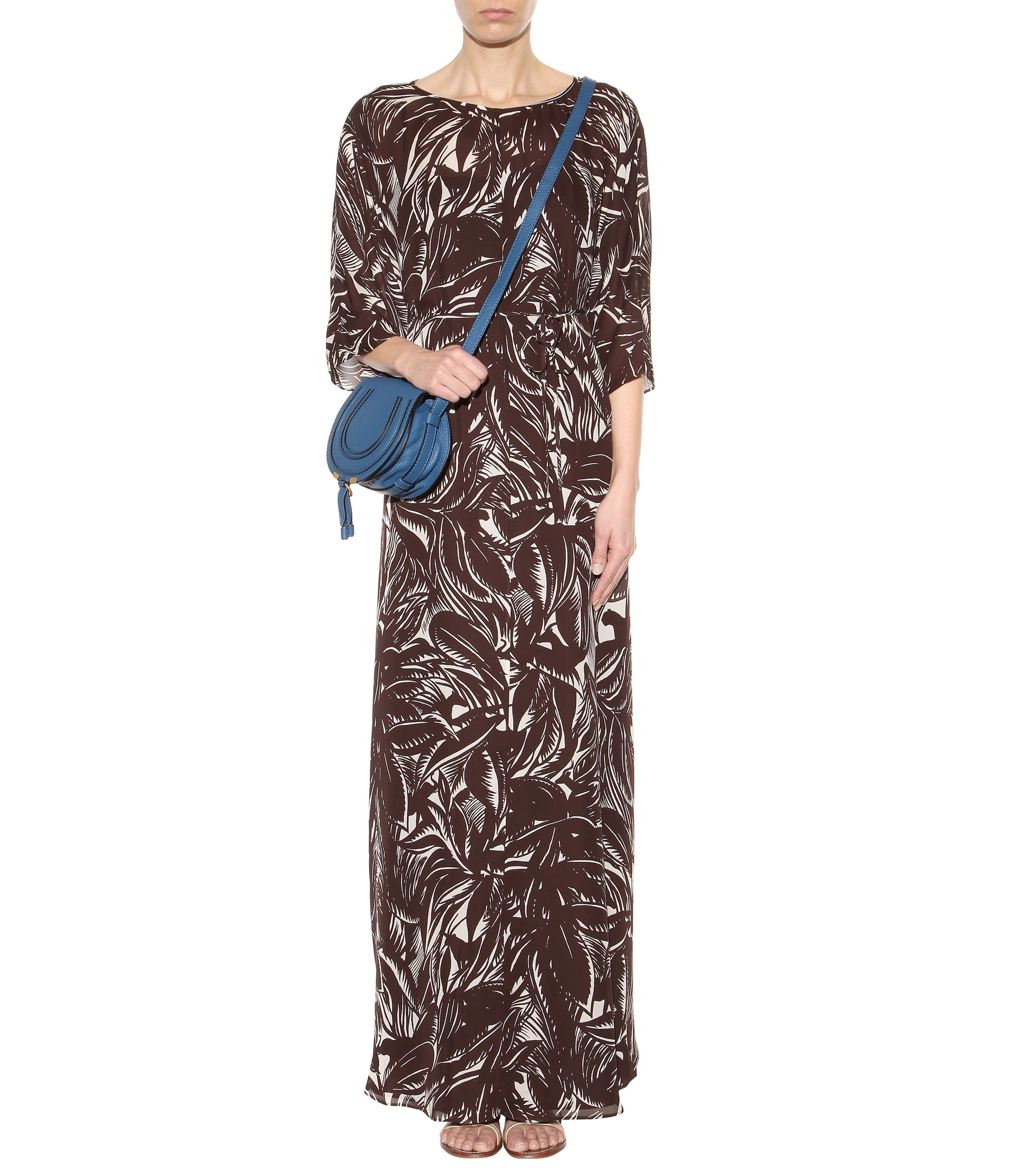 Lyst tory burch printed silk georgette dress in brown for Tory burch fashion island