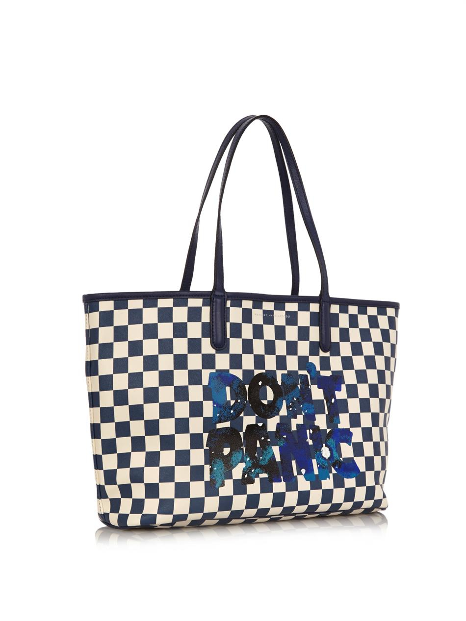 Marc By Marc Jacobs Don'T Panic Checkerboard-Print Tote Bag in Blue