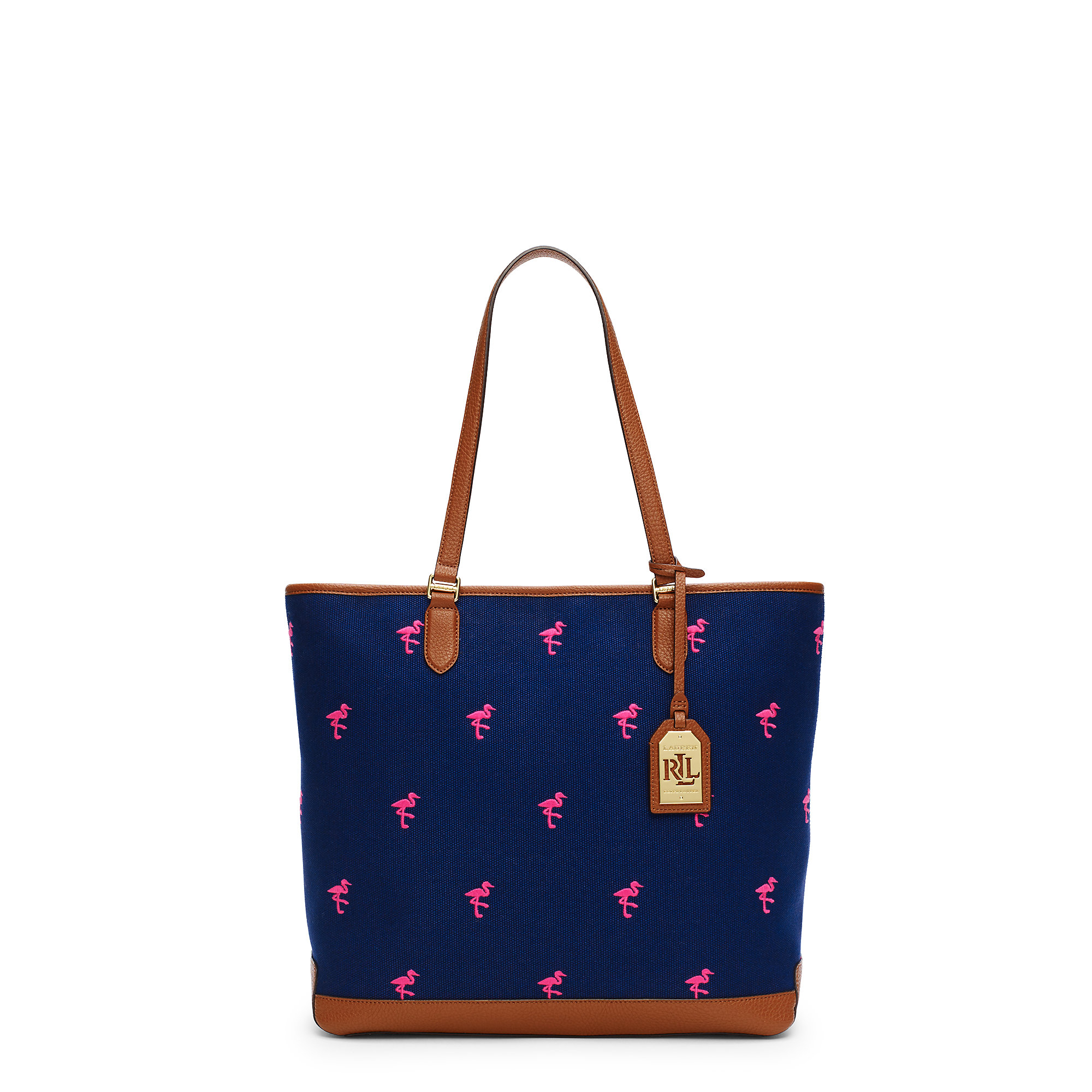 Ralph Lauren Tote Laukku : Pink pony flamingo canvas tote in blue lyst
