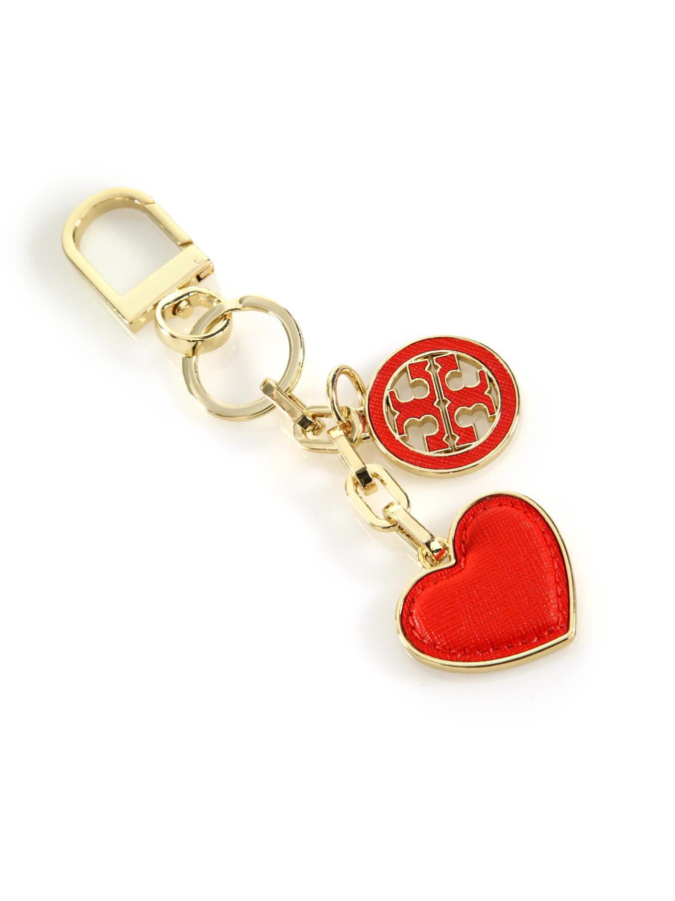 c8a3bcb1b92c Lyst - Tory Burch Logo   Heart Key Fob in Red