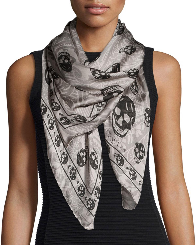 Lyst - Alexander Mcqueen Paisley Skull-print Silk Scarf in ...