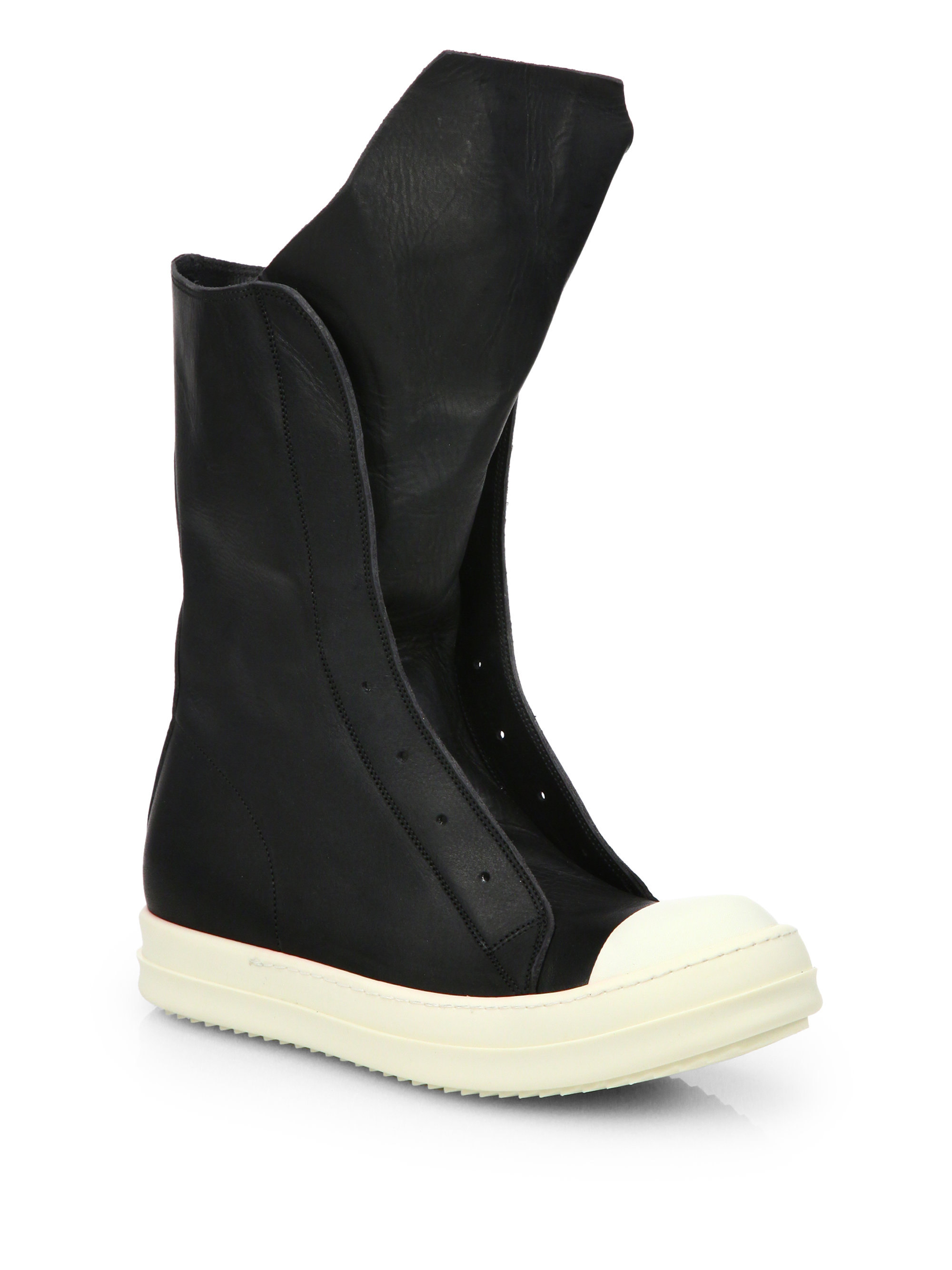 Rick Owens & Leather Sock High-Top Sneakers mNCYLf