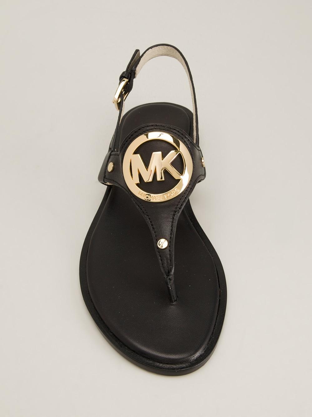 Michael Michael Kors Aubrey Flat Sandals In Black Lyst