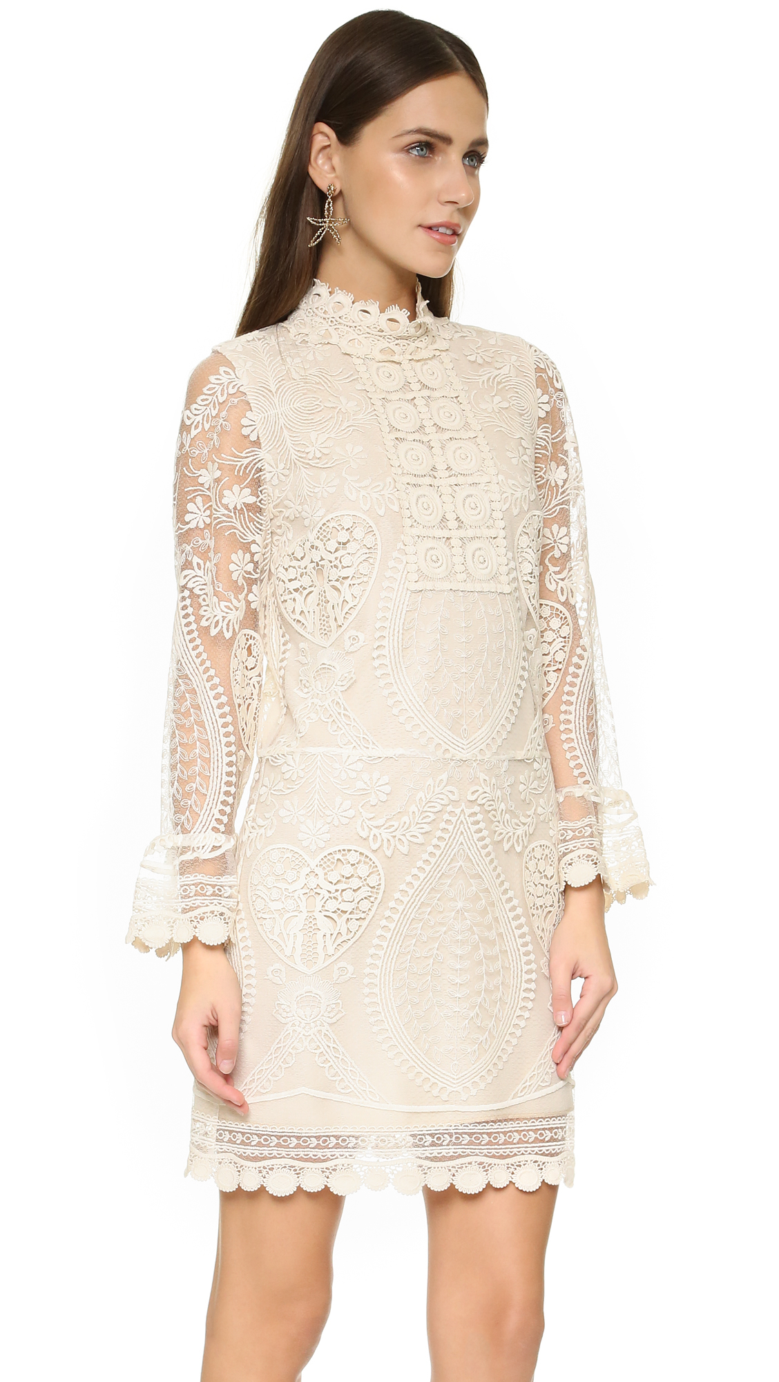 Louis Vuitton Made In France >> Lyst - Anna Sui Hearts Embroidered Dress