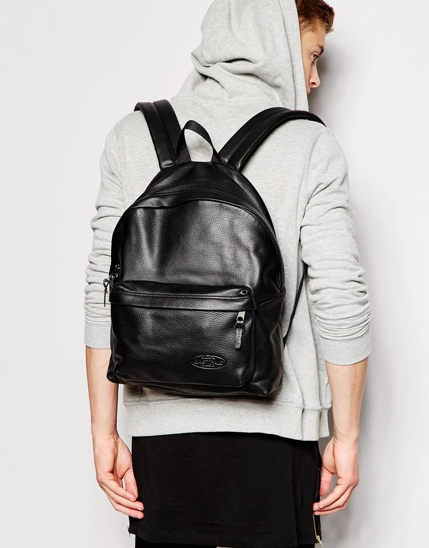 Eastpak Leather Padded Pak'r Backpack in Black for Men | Lyst