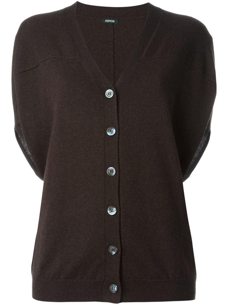 Aspesi Short Sleeve Cardigan in Brown | Lyst