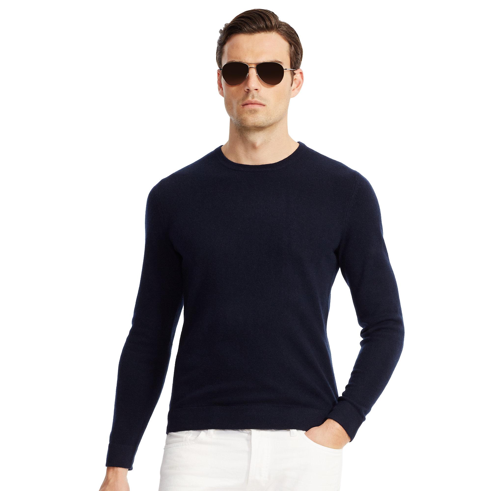 Mens Black Cashmere Crewneck Sweater
