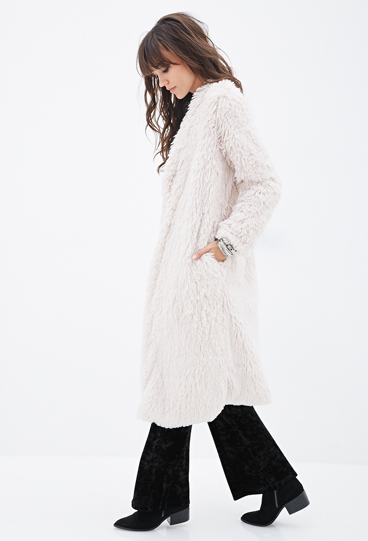Lyst Forever 21 Faux Fur Duster Coat In Natural