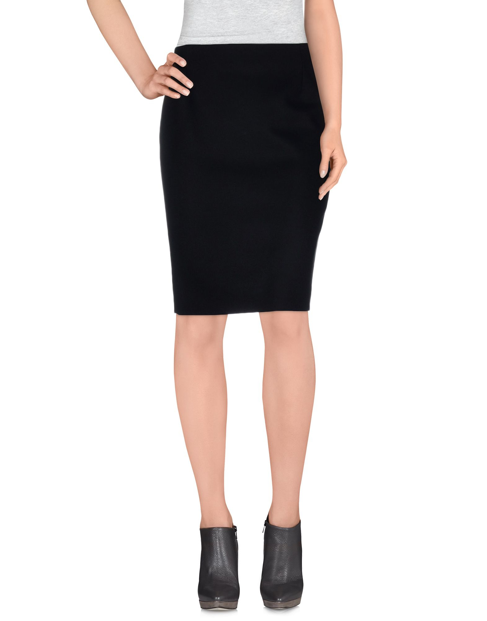 bouchra jarrar knee length skirt in black lyst