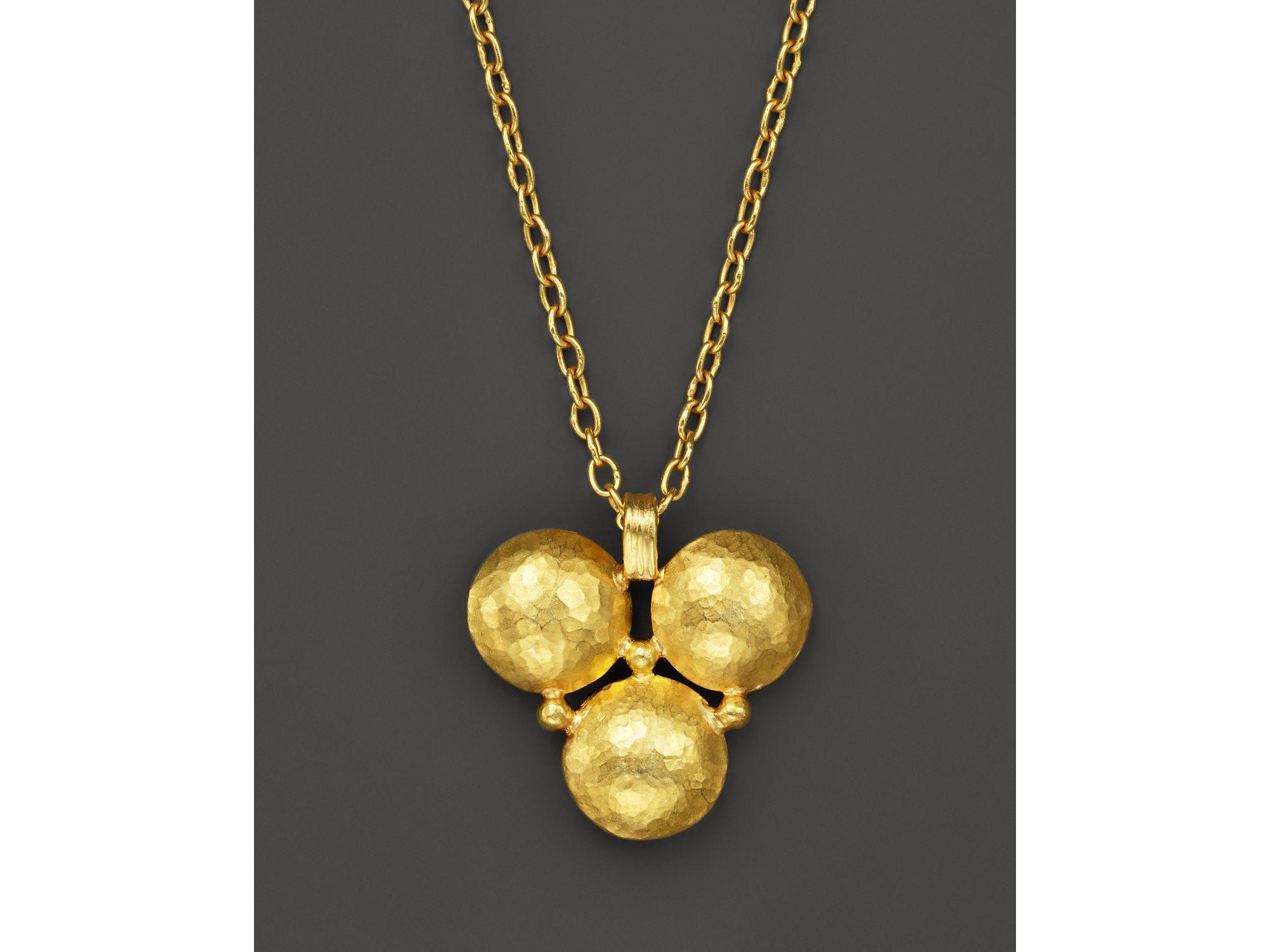 gurhan 24k yellow gold lentil classic pendant
