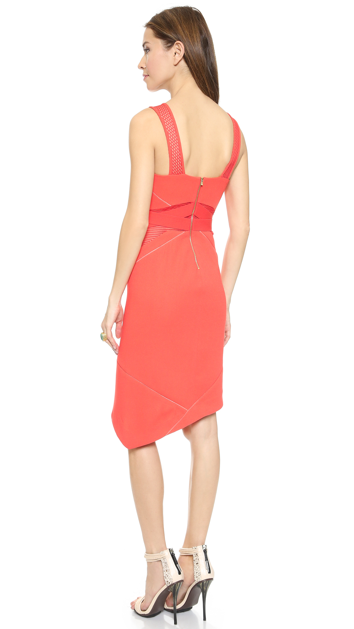 Three floor some like it hot dress coral in orange lyst for Three floor yellow dress