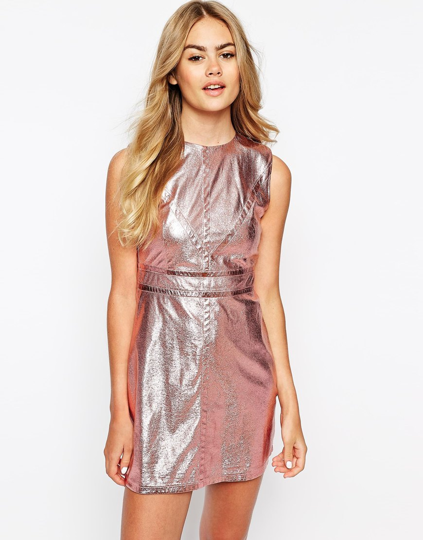Sister jane Metallic Shift Dress in Pink   Lyst