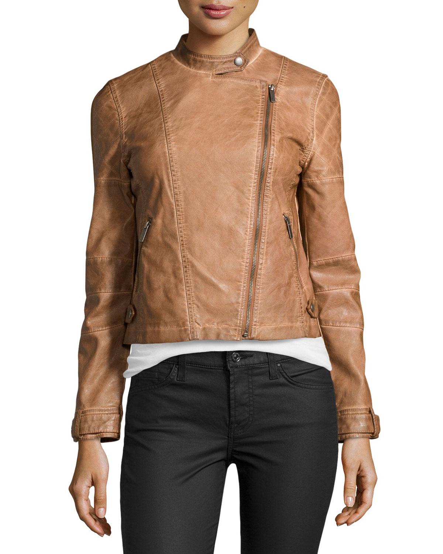Bagatelle Faux Leather Asymmetric Zip Moto Jacket In Brown