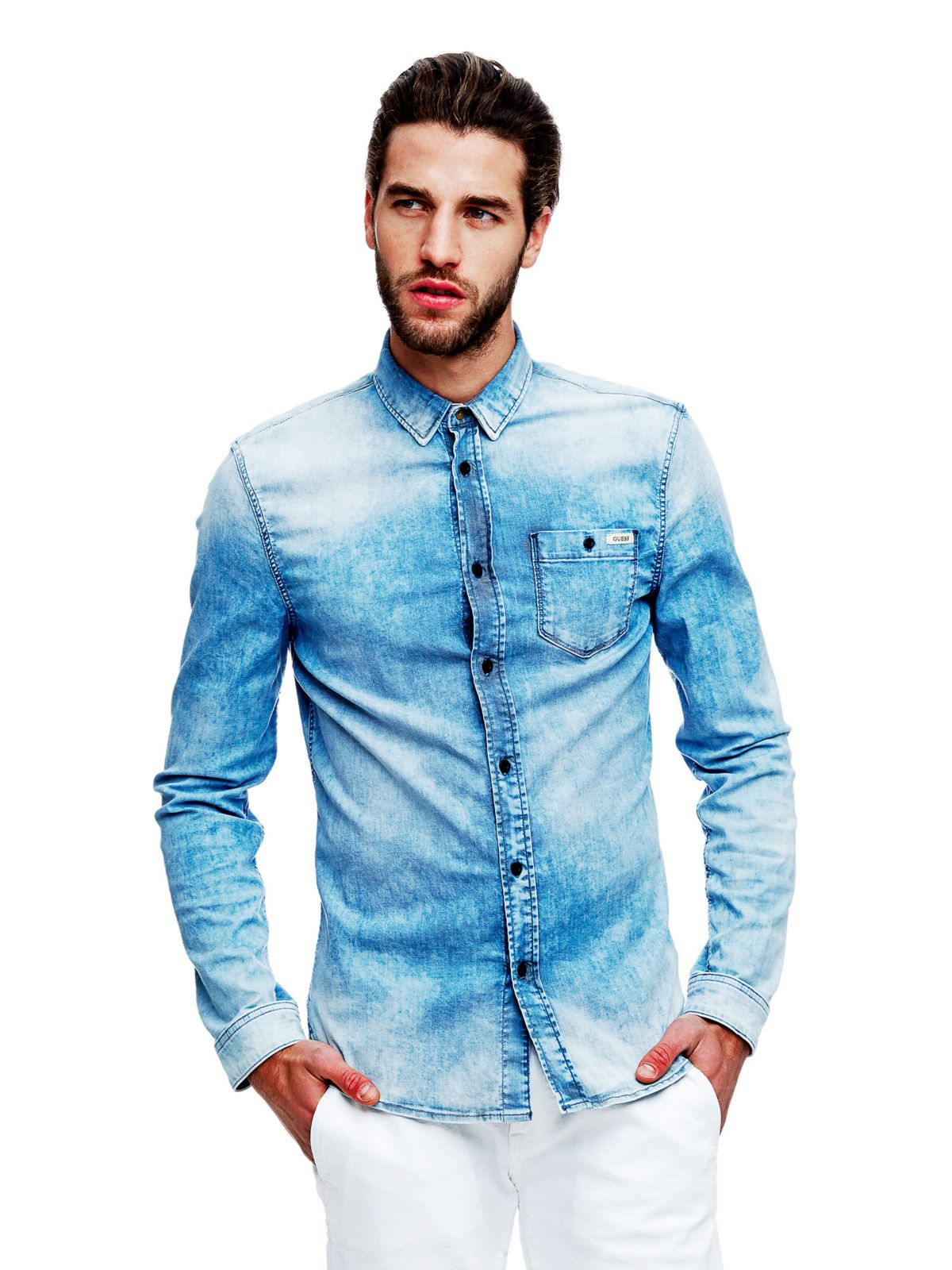 guess shirt in blue for lyst