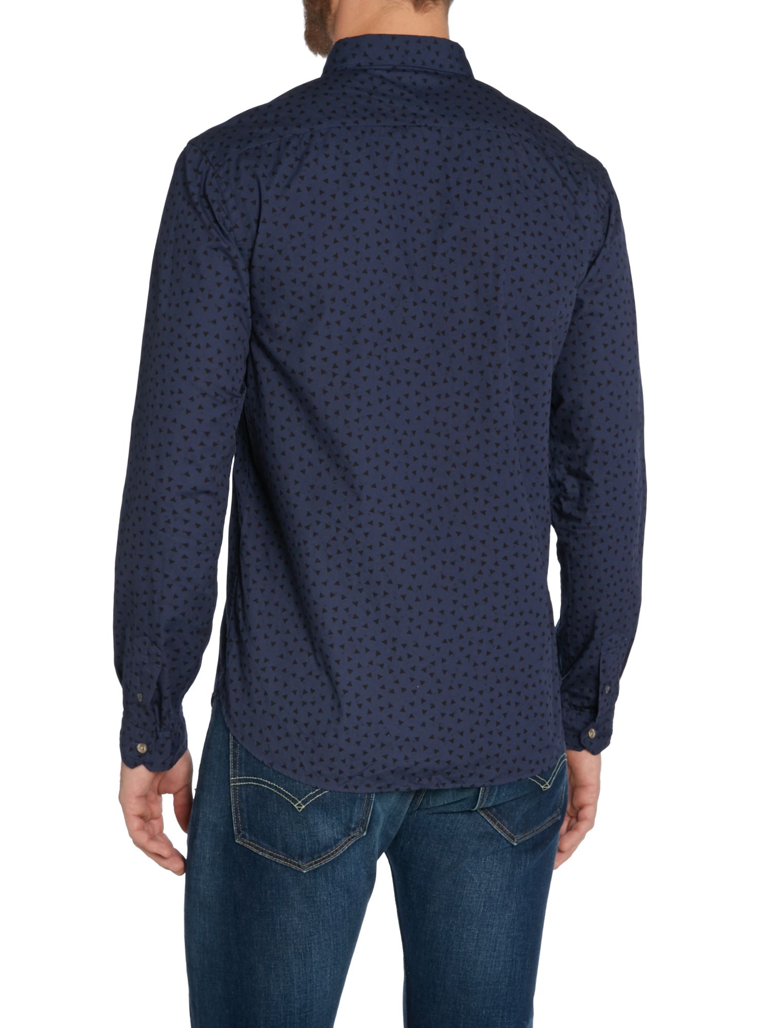 Paul Smith Pattern Long Sleeve Button Down Shirt In Blue