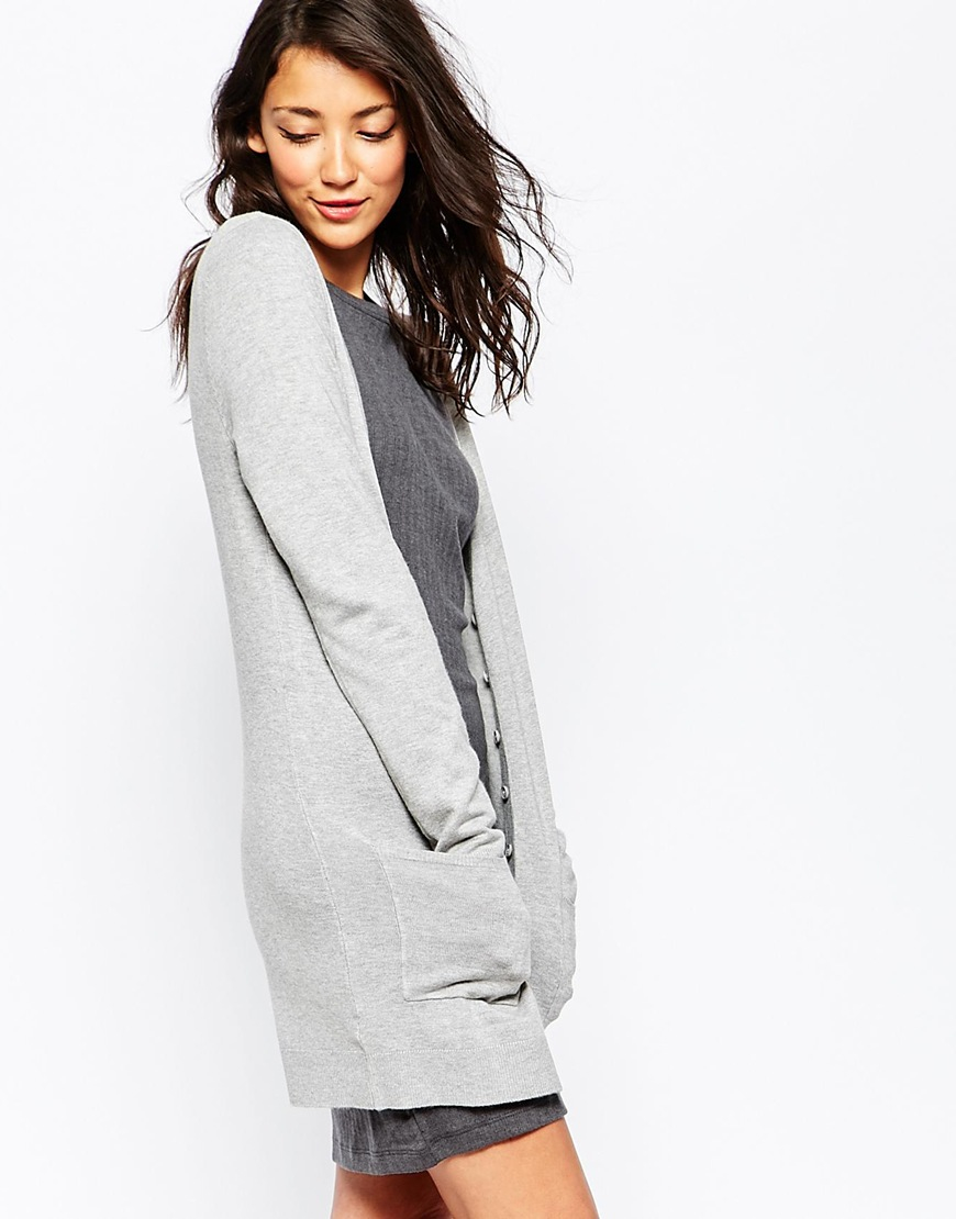 Vero moda Long Line Fine Knit Cardigan With Front Pockets in Gray ...