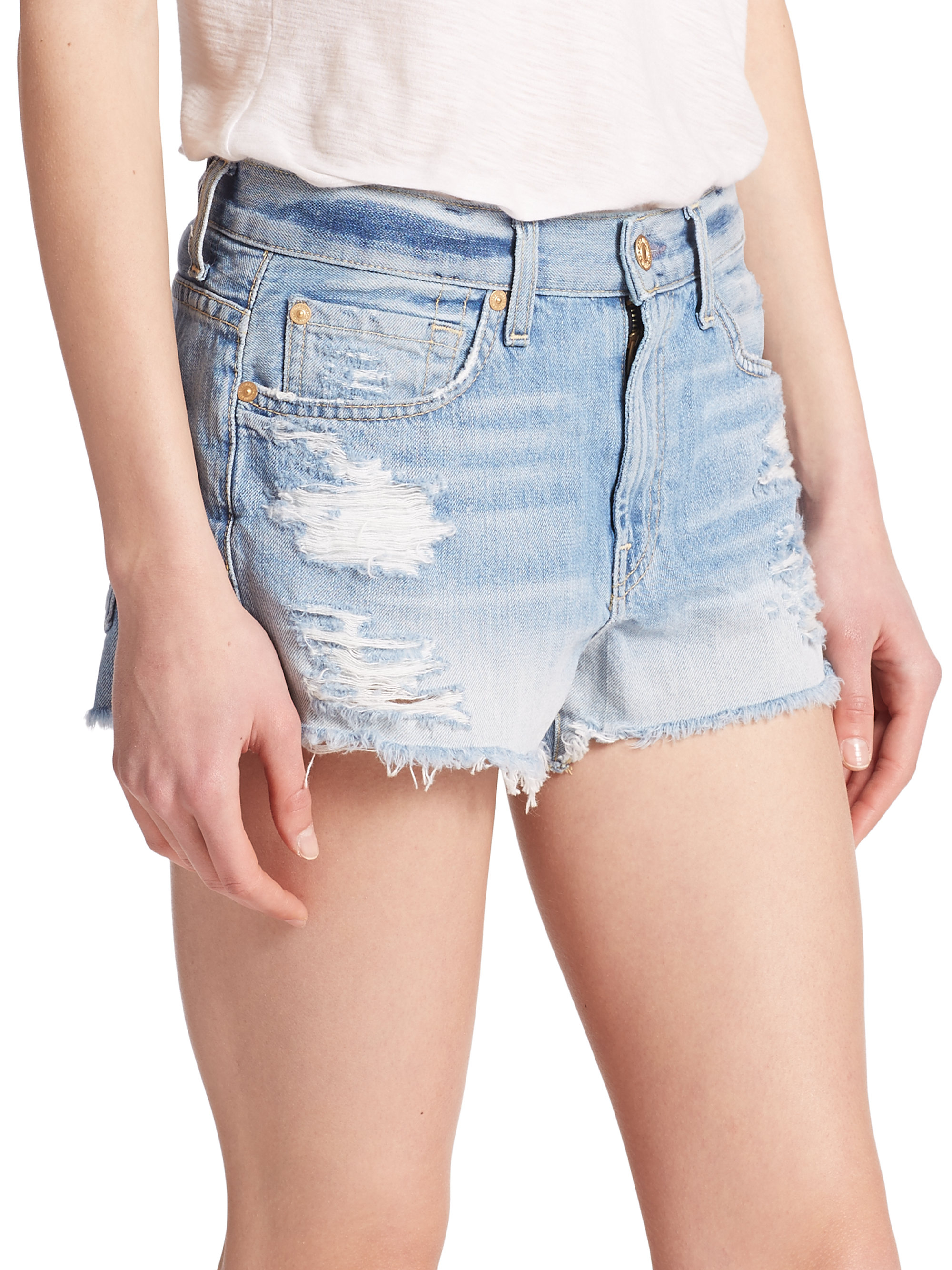 7 for all mankind Distressed Cut-off Denim Shorts in Blue | Lyst