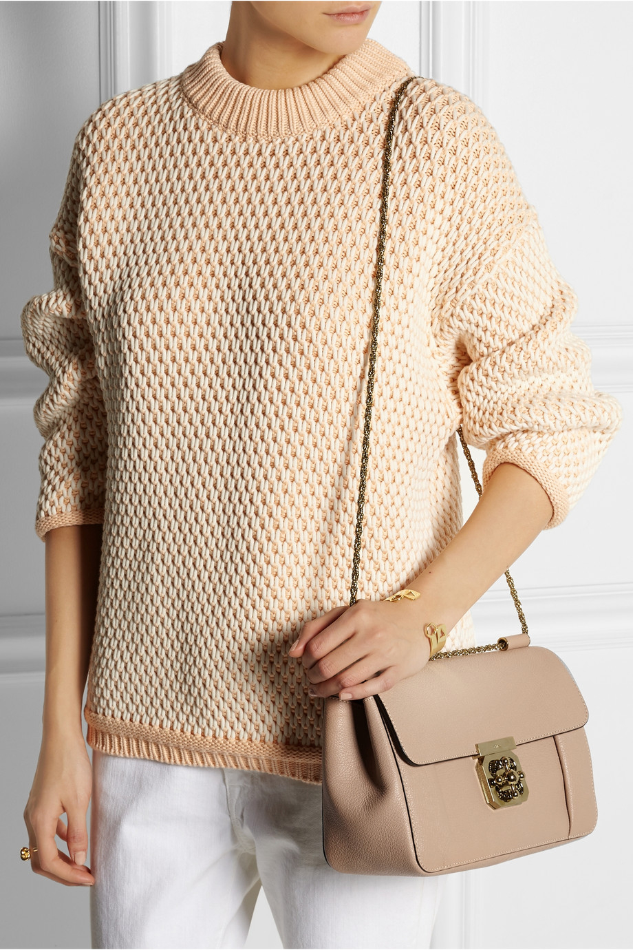 f9d42929d11c7 Chloé Elsie Medium Textured-Leather Shoulder Bag in Natural - Lyst