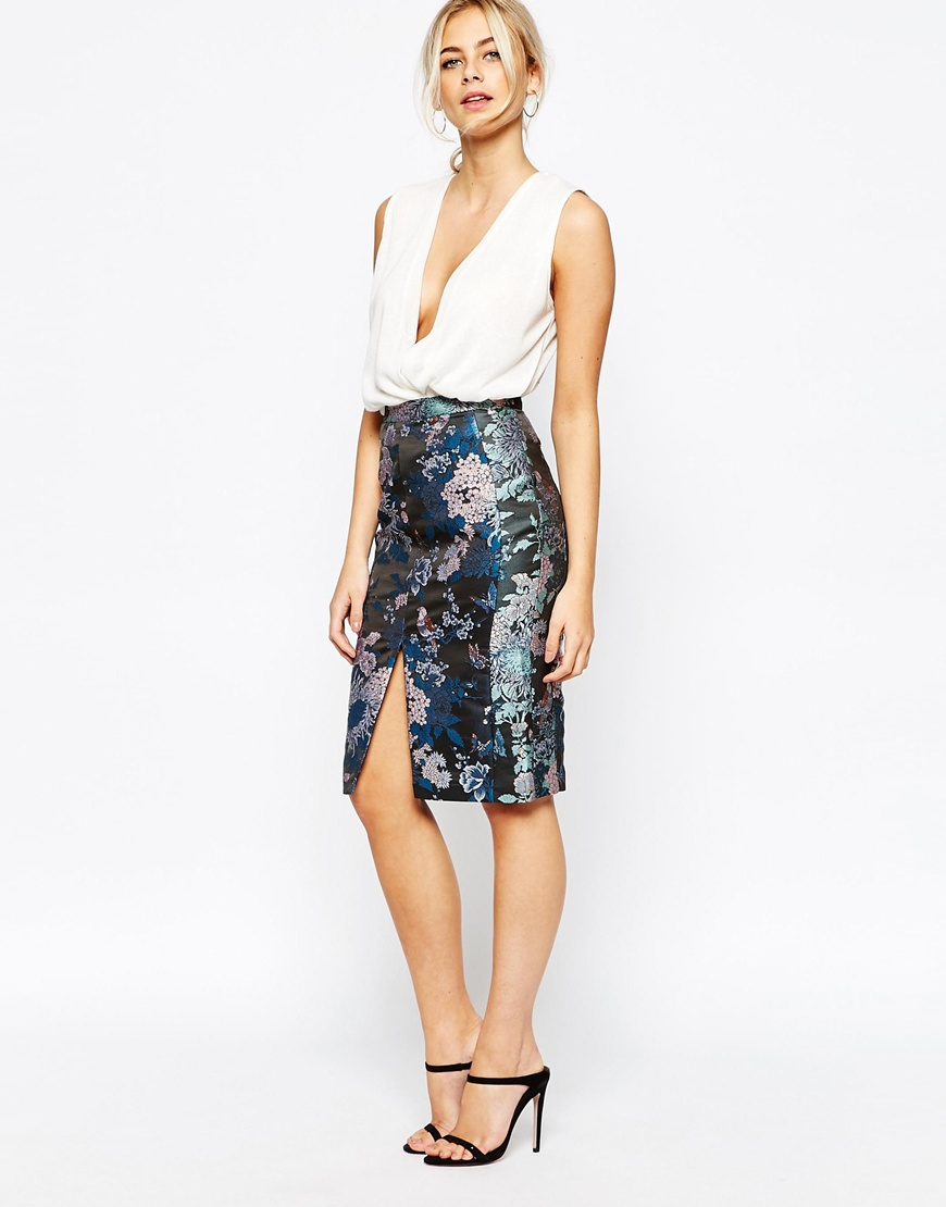 fa669544a8ae Oasis Butterfly Jacquard Pencil Skirt in Black - Lyst